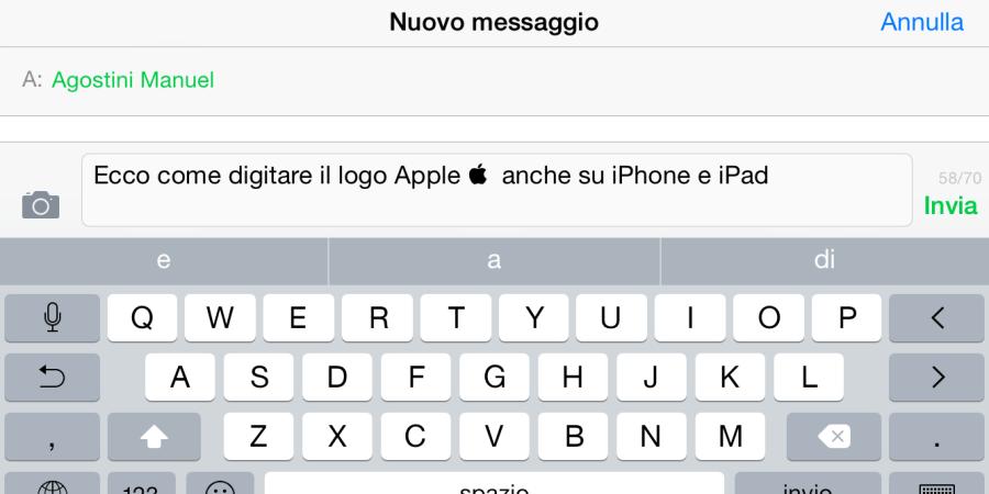 [Come si fa] Digitare il Logo Apple  su iPhone o iPad