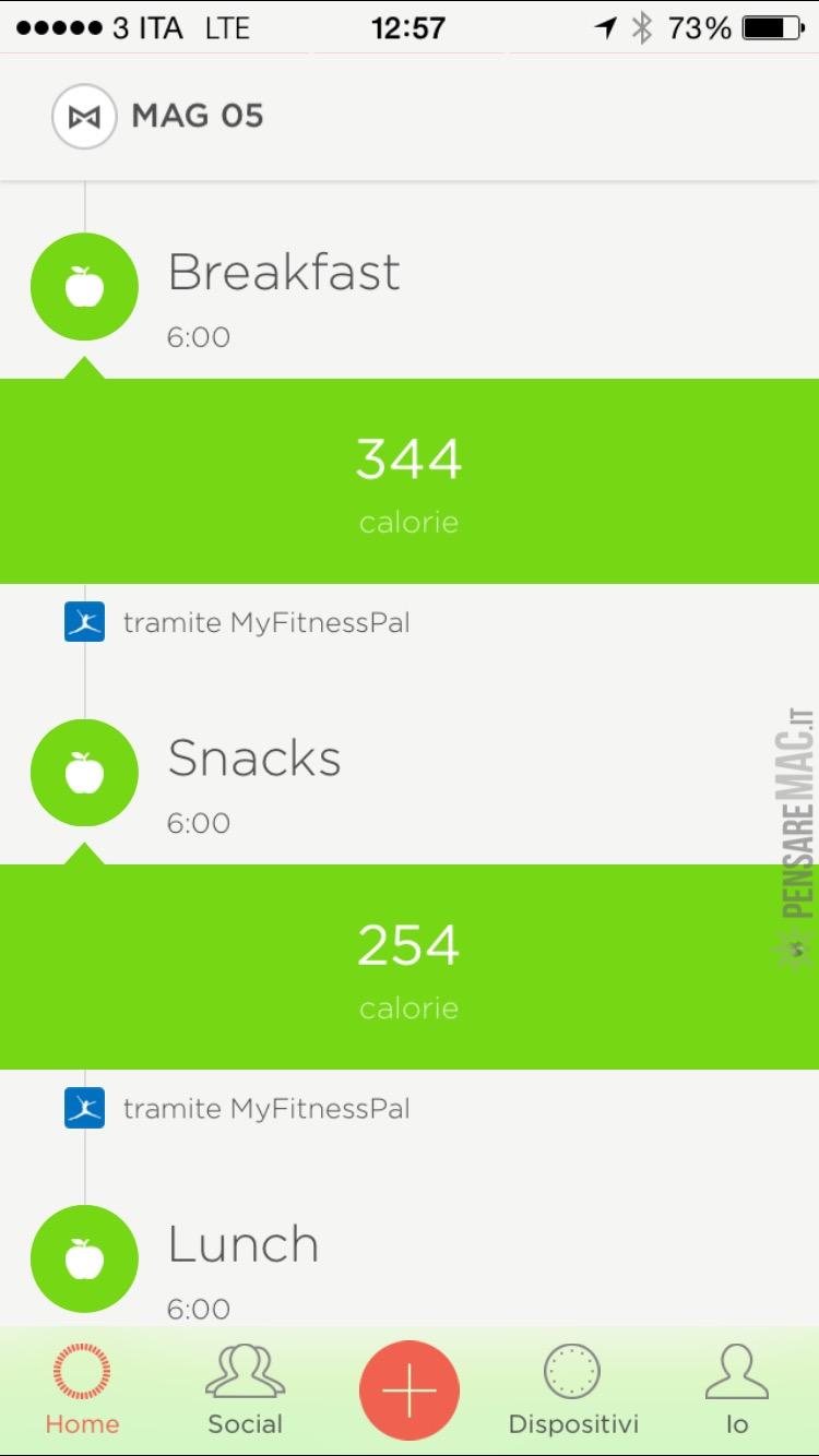 Apporto calorico (tramite MyFitnesspal