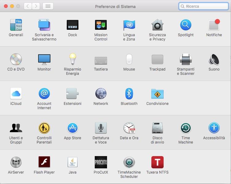 Cercare direttamente una Preferenza di sistema su Mac OS X
